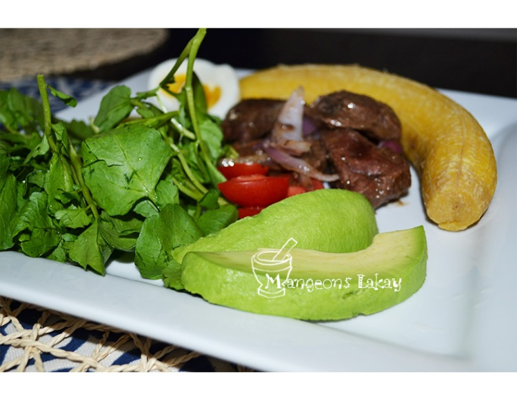 Plantain with beef liver